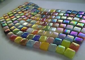 8 mm Iridescent Recycled Glass Mosaic Tiles Mixed Colors 4 mm thick 100 ct $6.95