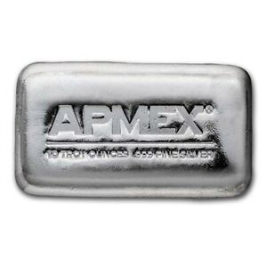 10 oz Cast-Poured Silver Bar - APMEX $217.20