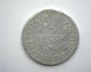 WASHINGTON & FANNING ISLANDS ca.1900'S 25 CENTS TOKEN ABOUT UNC EXTRA RARE