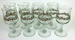 Libbey Holly Berry Gold Rim Christmas Wine Water Glasses Stemware Vintage 8 Set