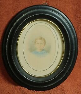 Antique Miniature Portrait Sandy Hair Blue Eyes Boy Early Victorian Painting OLD $138.00