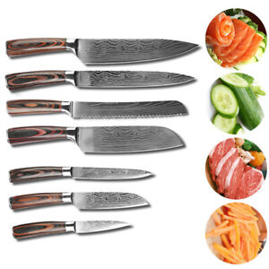 7Set Professional Damascus Pattern Stainless Steel Kitchen Chef Knives Set