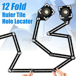 Pair 12 Folding Tile Hole Locator Adjustable Multi Angle Ruler Measuring Tool $29.54