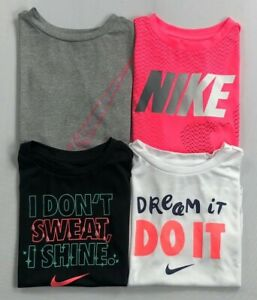 Girl's Little Youth Nike Dri Fit Dry Athletic Cut Polyester Scoop Bottom Shirt $11.99