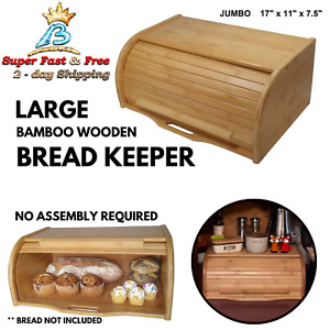 Roll Top Bamboo Wood Bread Box Loaf Bread Container Kitchen Food Storage Large