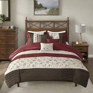 Serene Embroidered 6 Piece Duvet Cover Set Red Multi Color New