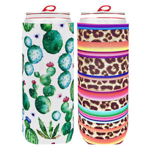 2Pcs Cactus Leopard Stripes Neoprene Beer Bottle Can Cover Insulated Sleeve
