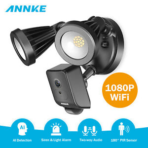 ANNKE HD 1080P Floodlight Security Camera PIR Motion-Activated AI Sensor Alarm
