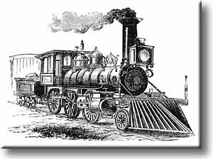 Vintage Black and White Steam Engine Picture on Stretched Canvas Wall Art Décor