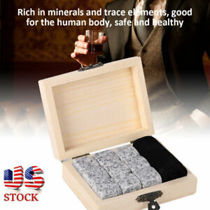New 9Pcs Whisky Wine Chilling Stones Drink Chiller Stones Rocks Wooden Box US