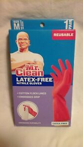 Mr. Clean Latex-Free Nitrile Gloves Pink MEDIUM Cotton Flock Lined Non Slip Grip