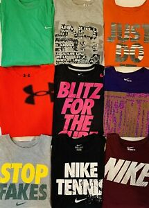 10 MENS NIKE SWOOSH DRI FIT UNDER ARMOUR SHIRTS LOT GYM CROSSFIT XL EXTRA LARGE $64.88
