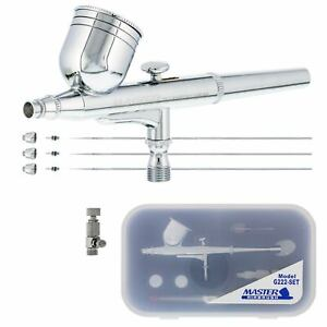 Master Airbrush G222 Pro Set Dual Action Gravity Feed, 3 Tip Kit 0.2, 0.3, 0.5mm