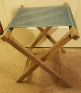Vintage 1960#x27;s Camping or Fishing Folding Stool w Canvas Seat PreOwned