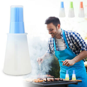 Portable Silicone Oil Vinegar Dispenser Bottle With Brush&Cover for Cooking BBQ