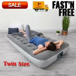 Bestway 12quot; Air Mattress with Built in Ac Pump Twin Size Airbeds Camping Gear