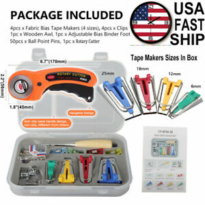 60 PCS Bias Tape Maker Sewing Quilting Awl amp; Binder Foot Fabric Rotary Cutter $16.79