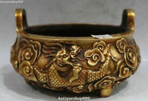 Old Purple Bronze 24K Gold Ming Dynasty Dragon Loong Pot Incense Burner Censer