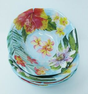 Tommy Bahama Melamine Salad Cereal Dessert Bowls set of 4 ~ Tropical Floral