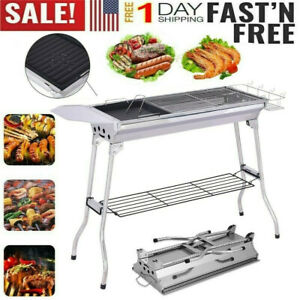 Stainless Steel Charcoal Camp Grill BBQ Portable Outdoor Folding Picnic Barbecue