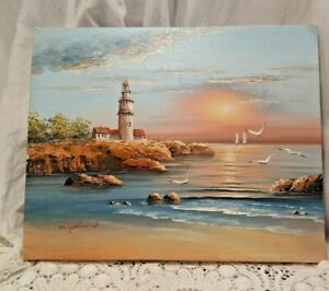 8x10quot; Nautical LIGHTHOUSE Oil Painting Canvas SIGNED M. GARTLAND Sea Ocean OOAK $51.00