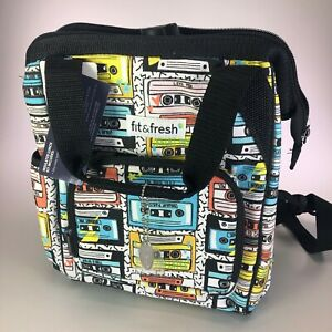 Fit & Fresh 90s Mix Tape Small Backpack Lunch Bag with 24-oz. Sport Water Bottle