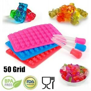 DIY 50Cavity Silicone Gummy Bear Chocolate Mold Candy Maker Ice Tray Jelly Mould