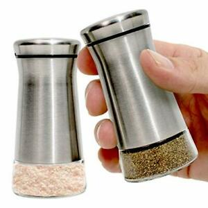 Salt And Pepper Shakers With Adjustable Pour Holes Stainless Steel Dispenser New
