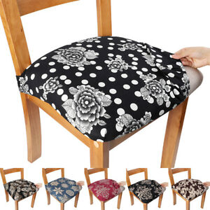 2/4/6pcs Stretch Printed Dining Chair Seat Cover Removable Seat Protector Home