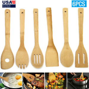 6 Piece Bamboo Spatula Set Wooden Spoons Mixing Kitchen Utensil Cooking Tools