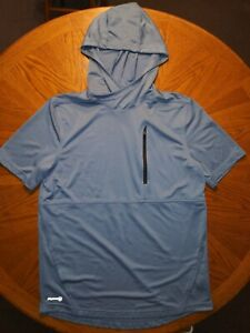 Russel Training Fit Dri Power Short Sleeve Hooded Steel Blue Sz M Pre owned VGC $11.00
