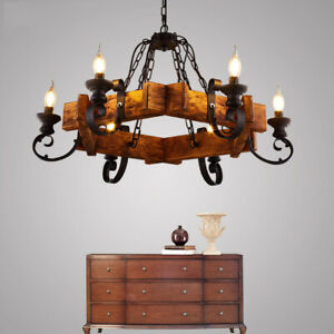 Farmhouse Country Style Candle Chandelier Wooden Wrought Iron Pendant Light