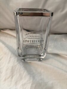 Bella Lux DR. H. GNADENDOFF APOTHECARY GLASS TOOTHBRUSH HOLDER.  SILVER TRIM