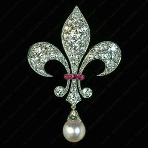 Antique 2Ct Diamond Pearl amp; Ruby Fleur De Lis Brooch Pin in 14k White Gold Over $159.31