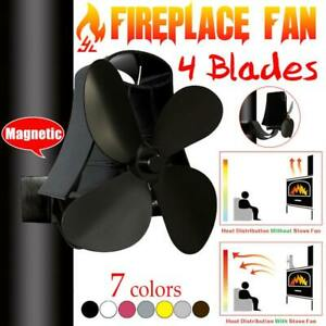 Wall mounted type 4 Blade Heat Powered Stove Fan Log Wood Burner Eco Quiet Home