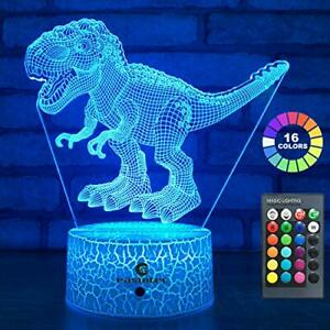 easuntec Dinosaur Toys 3D Night Light with Remote & Smart Touch 7 Colors + 16 Co