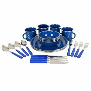 Enamel Outdoor Camping Tableware Set - 24 Pieces - Blue By Stansport