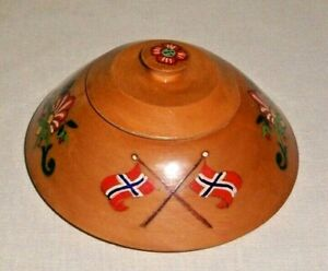 VINTAGE NORWEGIAN FLAG & ROSEMALING DESIGN WOOD TRINKET BOX NORWAY