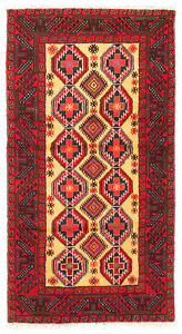 Hand-knotted Rizbaft Red Wool Rug 3'0
