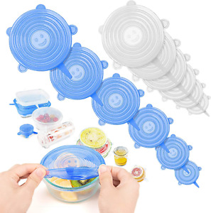 12 PCS Silicone Stretch Lids Reusable Food Covers For Bowl Cup Safe In Microwave