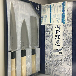 Kotobuki Japanese Deba Yanagi Nakiri Teruhisa Kitchen Knife 3 PCS Set JAPAN MADE