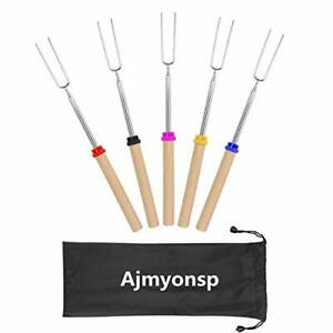 Ajmyonsp Marshmallow Roasting Sticks with Wooden Handle Extendable Forks Set of