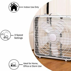 comfort zone CZ200A 20 inch 3 Speed Box Fan with Top Handle - White