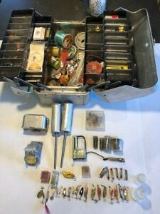 Vintage My Buddy Metal Tackle Box Full of Old Fishing Lures & Abalone Lures