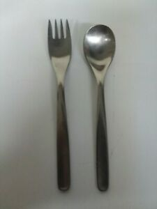 2pc Hull Highlight Pinch Russel Wright Stainless Dinner Fork + Soup Spoon