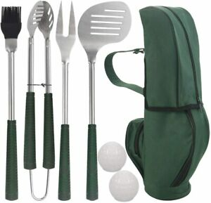 7pcs Golf-Club Style Grill Accessories Kit with Rubber Handle -  Steel BBQ Tools