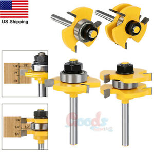 2PCS Tongue and Groove Router Bit Set 1/4Inch Shank T-shape 3-teeth Cutter Tool