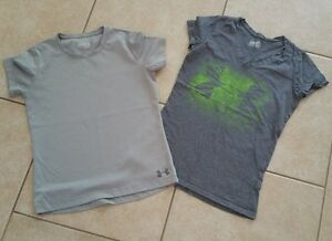Under Armour Heatgear Athletic Running Gym Shirts Gray Women's Size S Lot of 2 $8.99