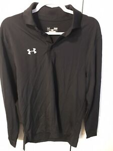 Under Armour Heat Gear Polo Shirt Men's Loose Fit long sleeve Black Size SM $7.99