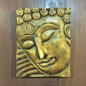 VINTAGE THAI BUDDHA WALL HANGING GOLD ART LARGE FACE WOOD HAND CARVED HOME DECOR